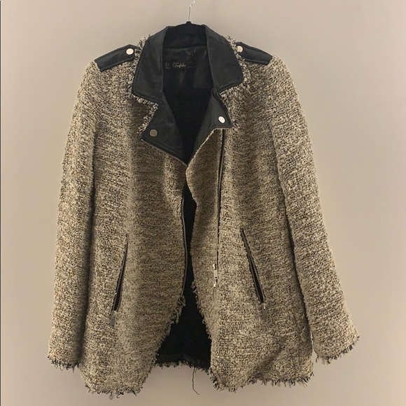 Faux leather knit jacket
